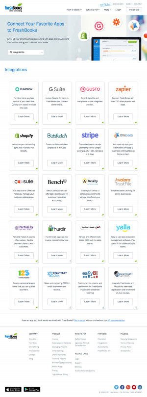 Integrations page inspiration - saas FreshBooks