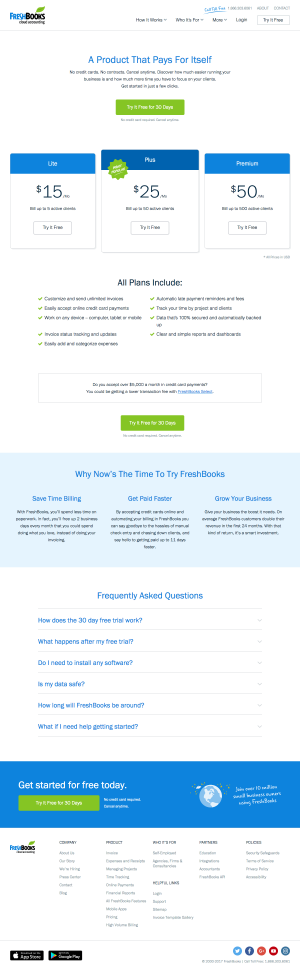 Pricing page inspiration - saas FreshBooks