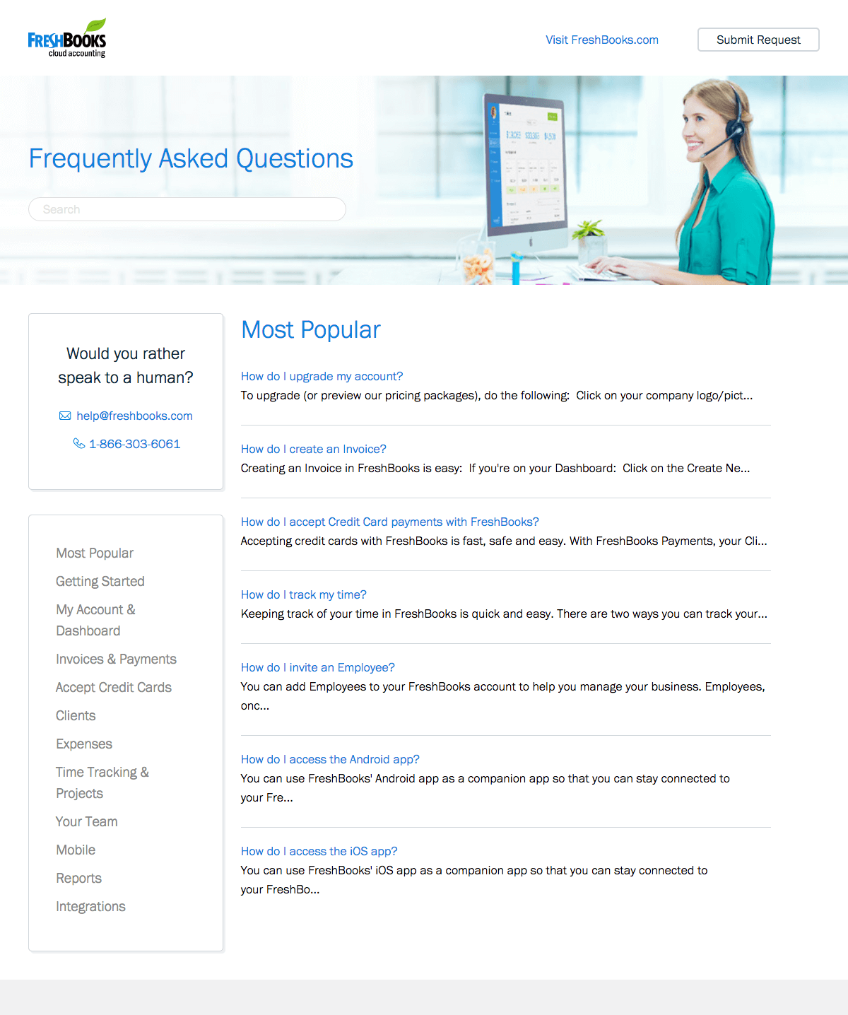 Support page inspiration - saas FreshBooks