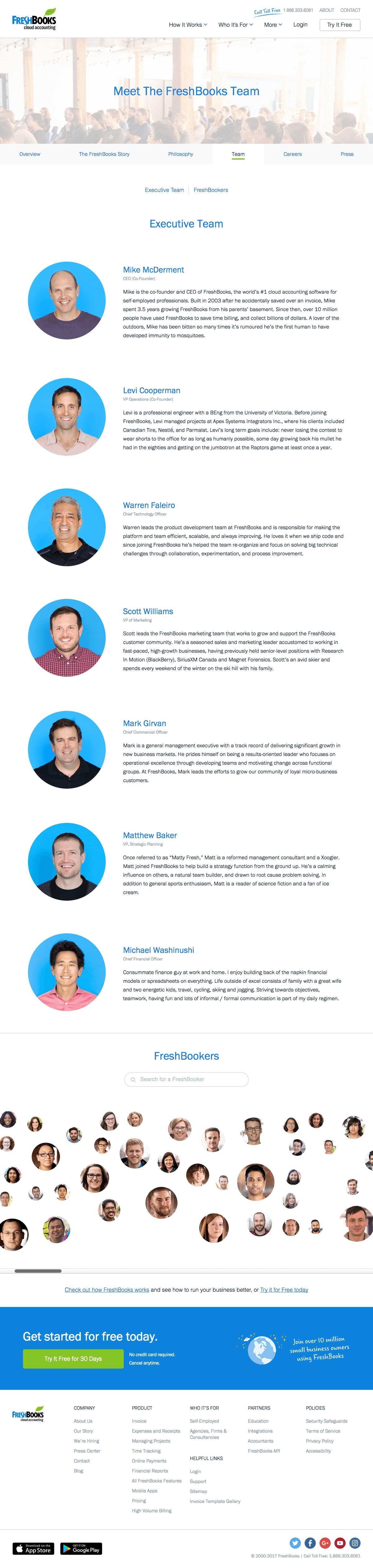 Team page inspiration - saas FreshBooks