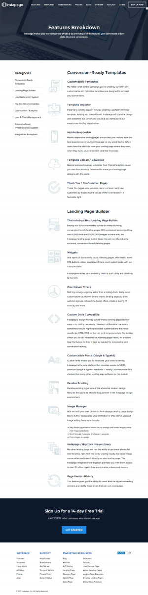 Features page inspiration - saas Instapage