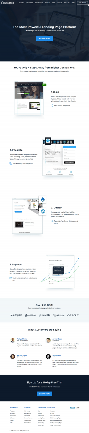 Homepage inspiration - saas Instapage