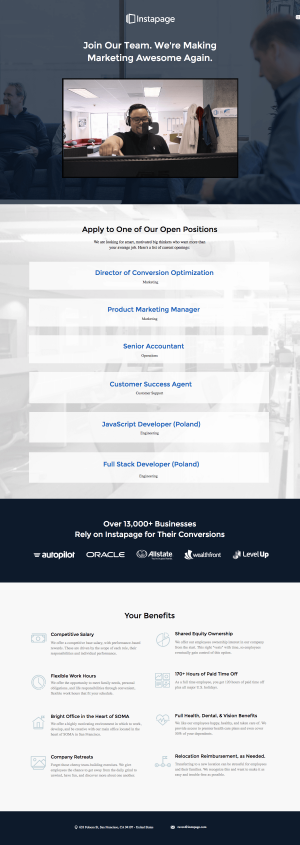 Jobs page inspiration - saas Instapage
