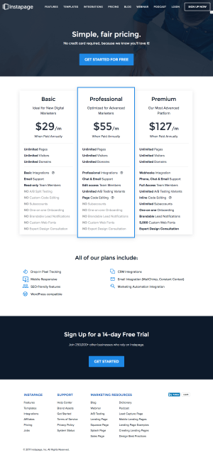 Pricing page inspiration - saas Instapage