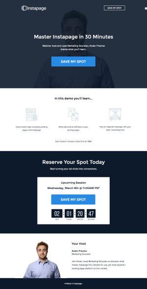 Resources page inspiration - saas Instapage