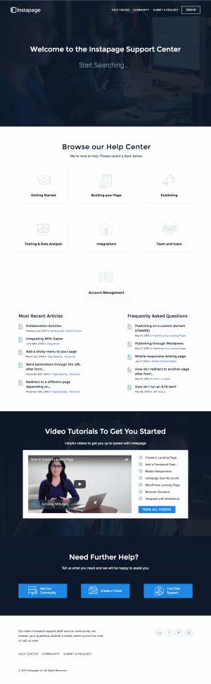 Support page inspiration - saas Instapage