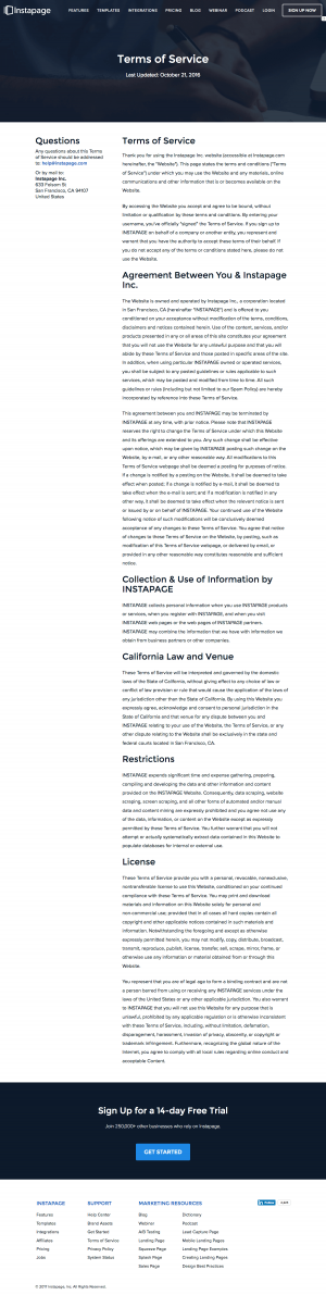 Terms page inspiration - saas Instapage