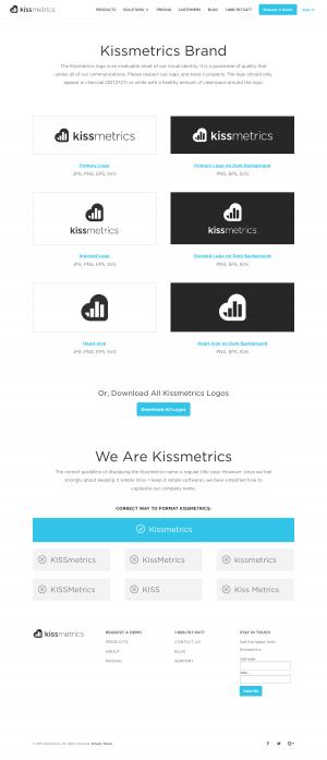 Mediakit page inspiration -saas Kissmetrics