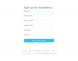 Signup page inspiration - saas Kissmetrics