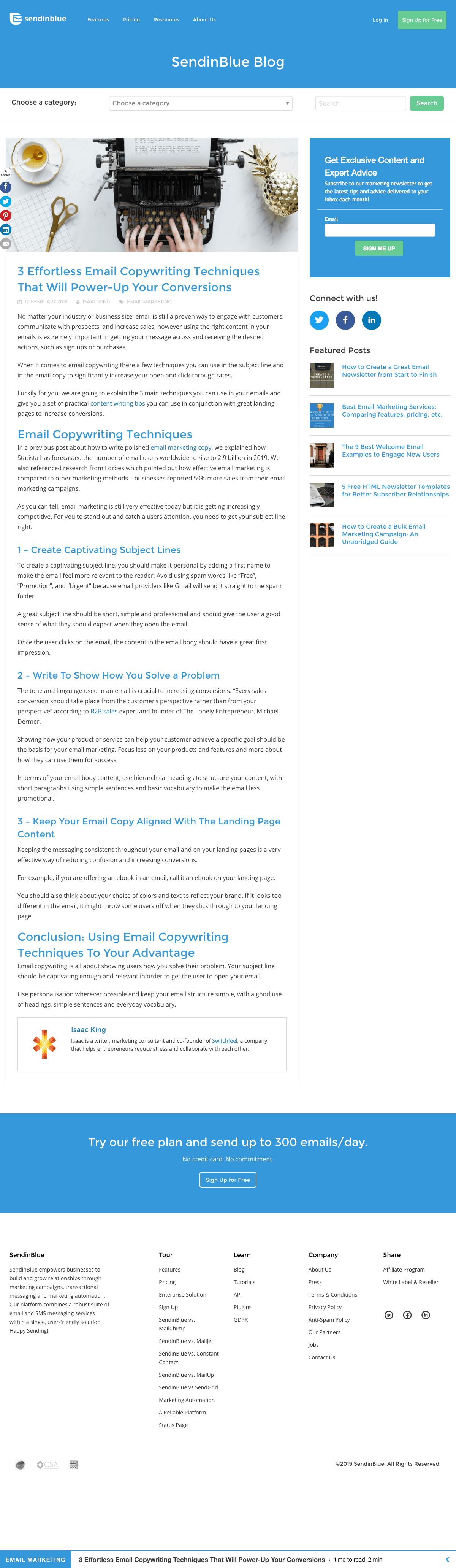 Blog article - SendinBlue