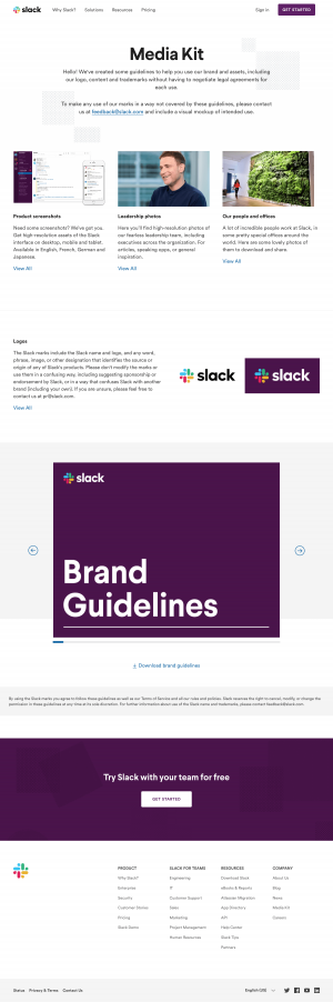 Media kit page inspiration - Slack