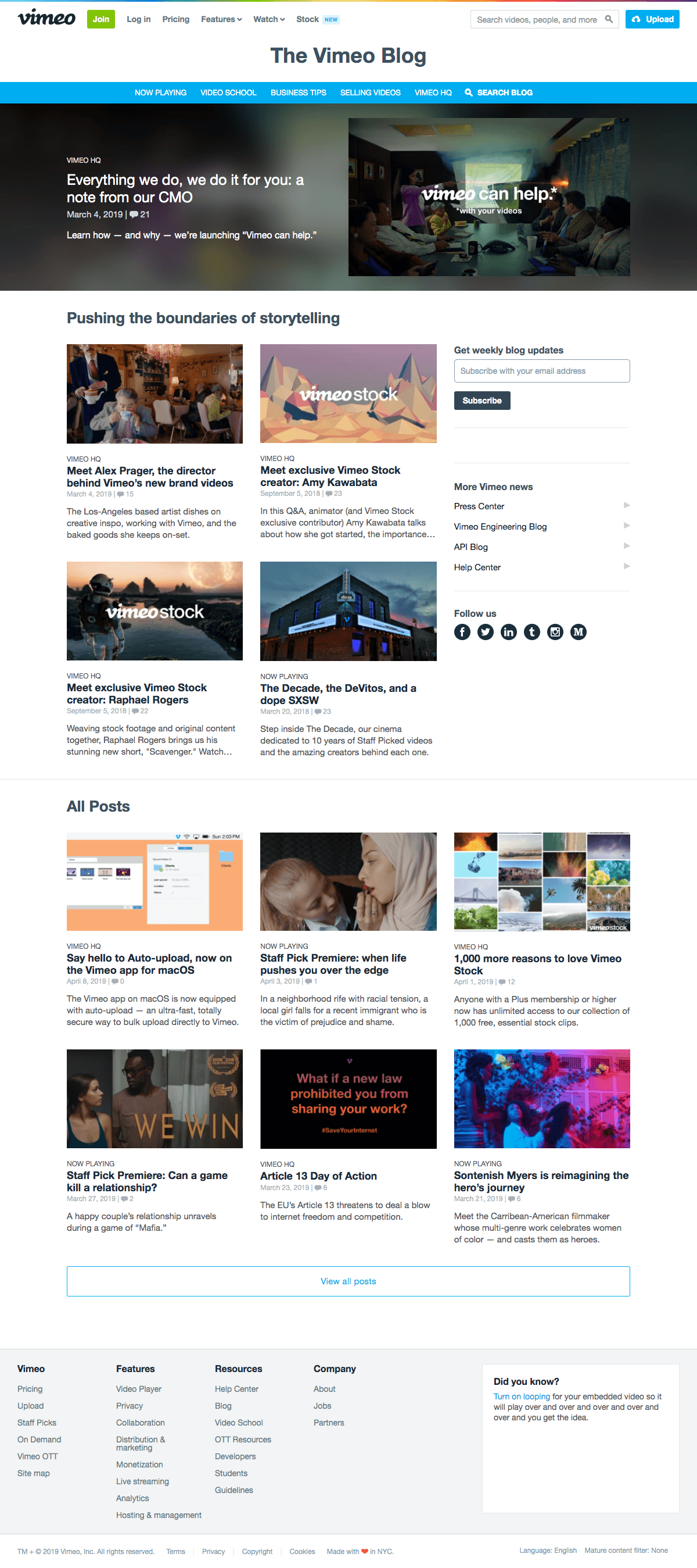 Vimeo - Blog Index