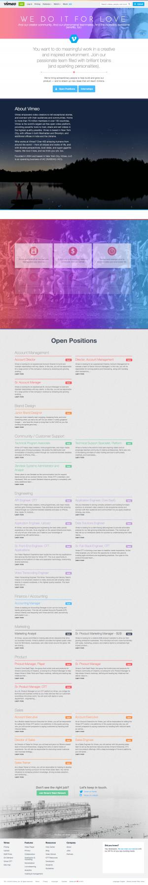 Vimeo - Career page