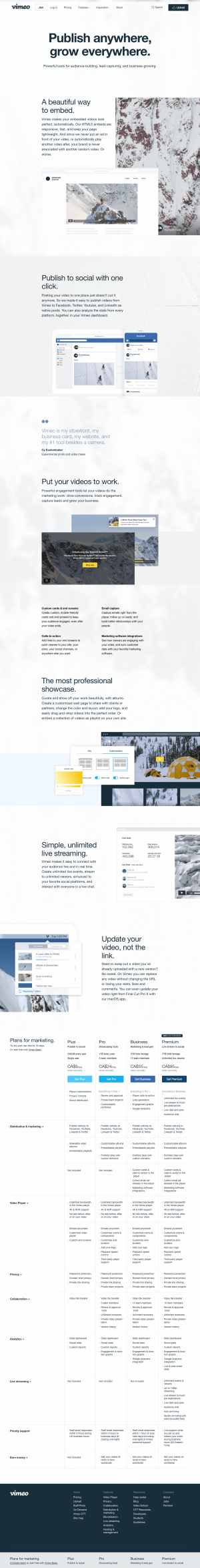 Vimeo - Features page 2