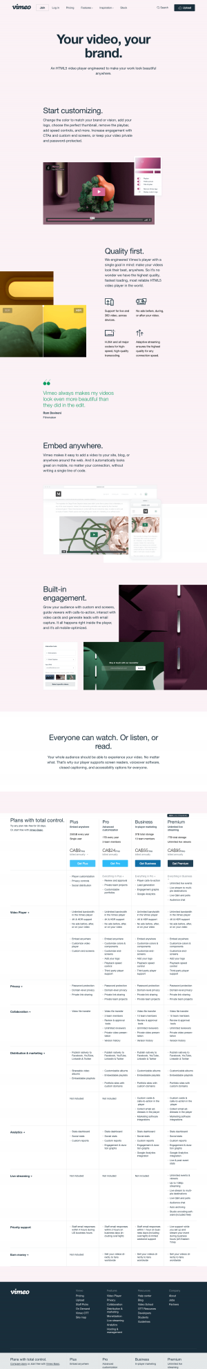 Vimeo - Features page 3