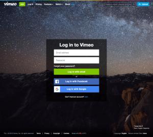 Vimeo - Login page