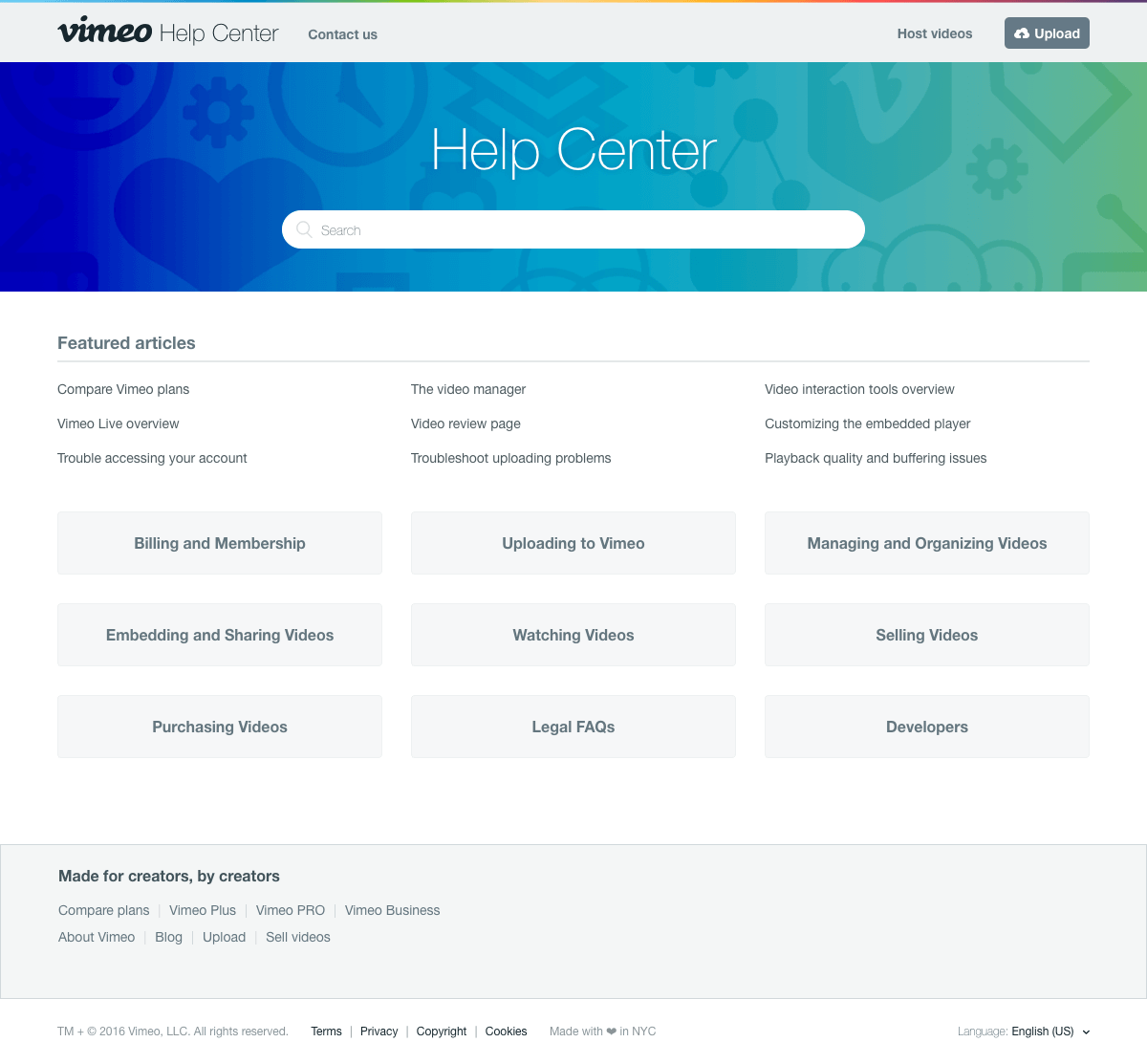 Vimeo - Support page
