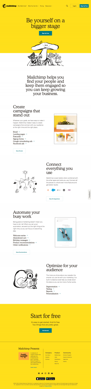 Mailchimp - Features1 page
