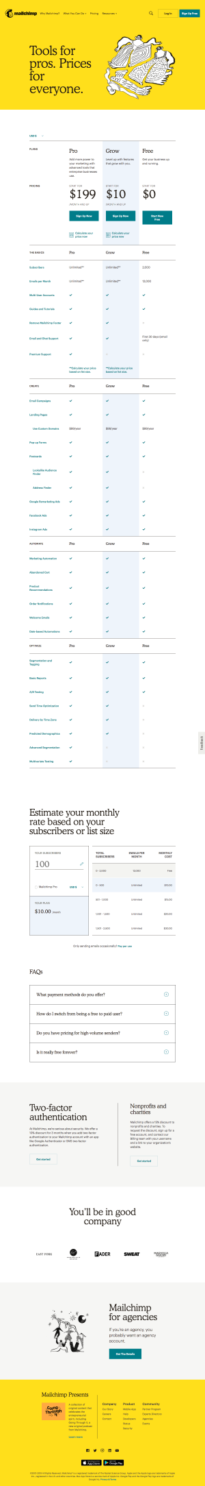 MailChimp - Pricing page