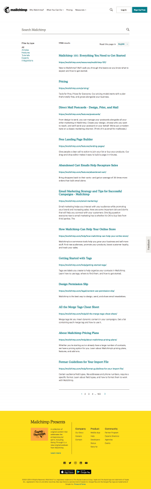 MailChimp - Search results page