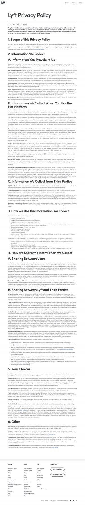 privacy page - lyft