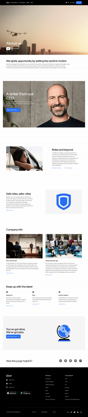 about us page - uber