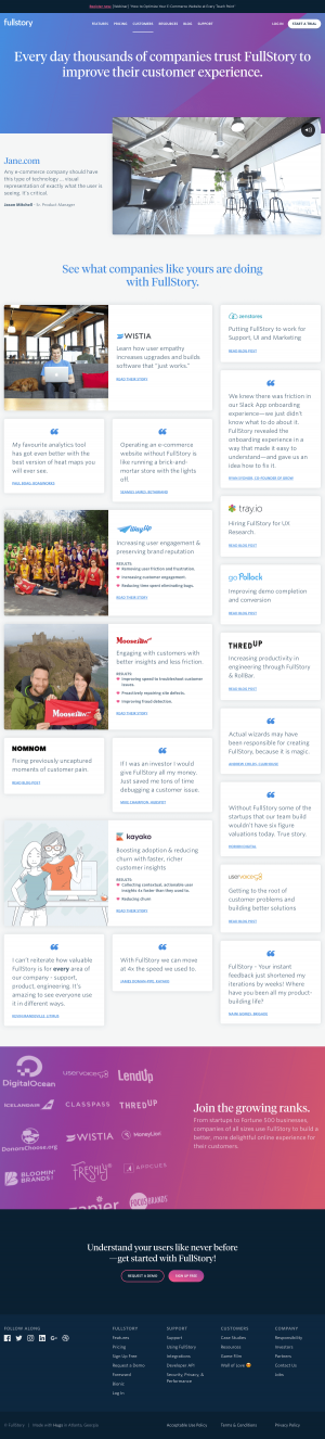 Customers page - fullstory