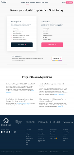 Pricing page - fullstory