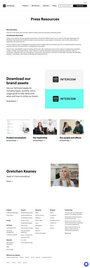 Mediakit page - intercom