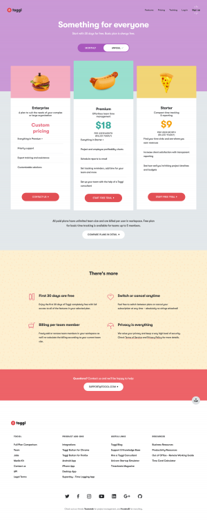 Pricing page - toggl