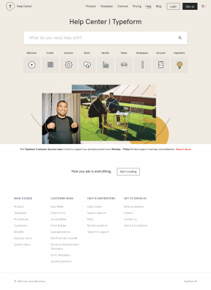 Support page - typeform