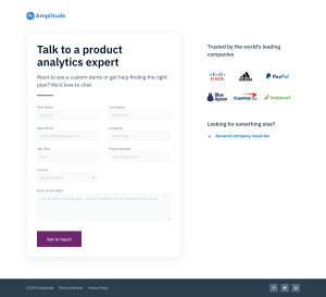Amplitude - Contact page