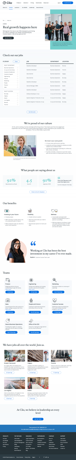 Clio - Career page