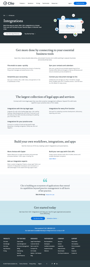 Clio - Integrations page 2