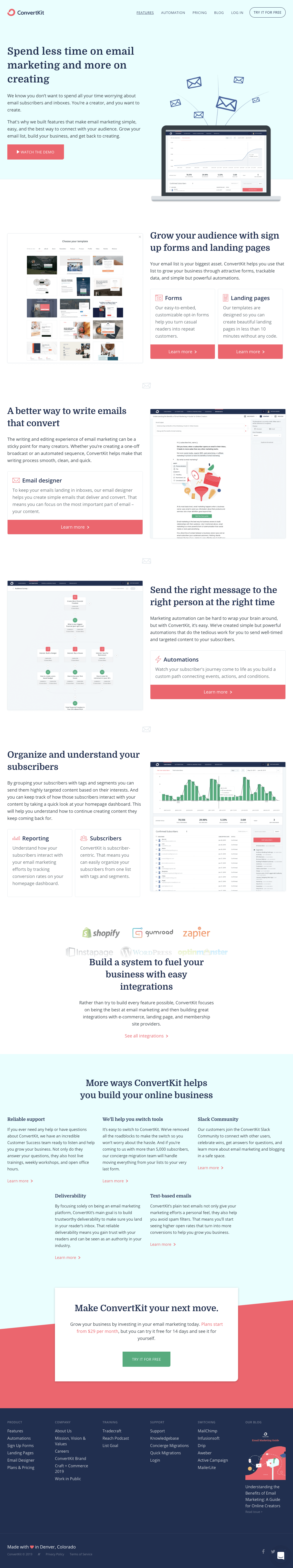 ConvertKit - Features page 1