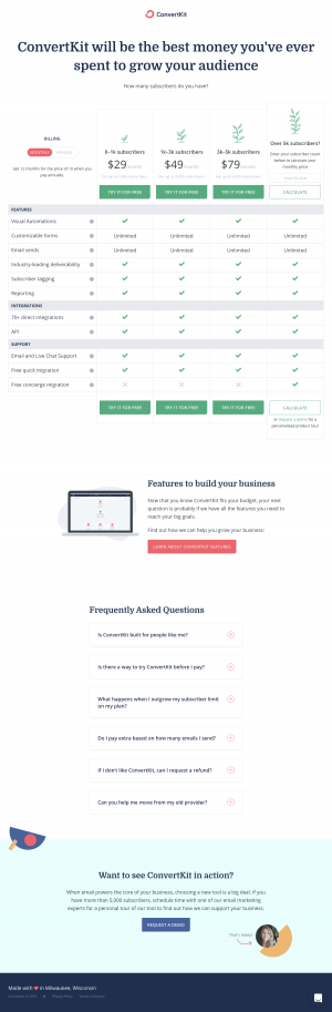 ConvertKit - Pricing page