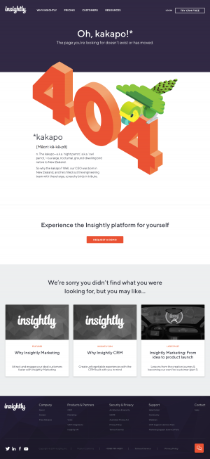 Insightly - 404 Error page