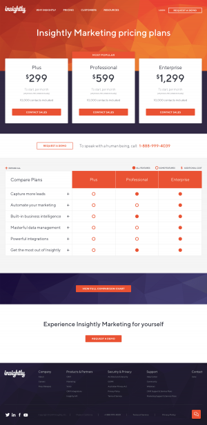 Insightly - Pricing page