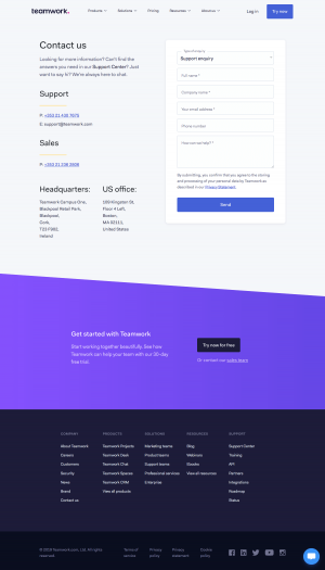 Teamwork - Contact page