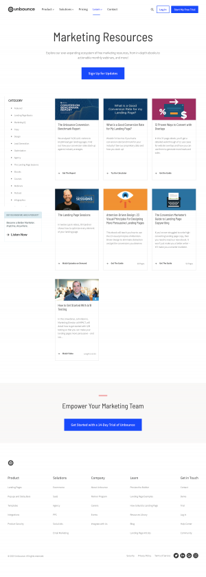 Unbounce - Resources page