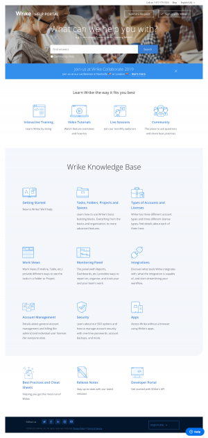 Wrike - Support page