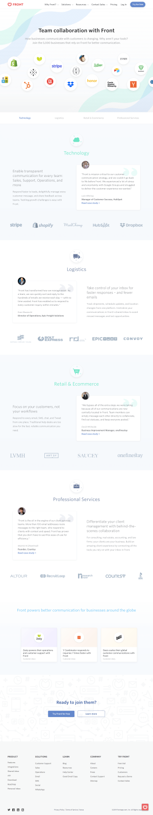 Front - Customers page