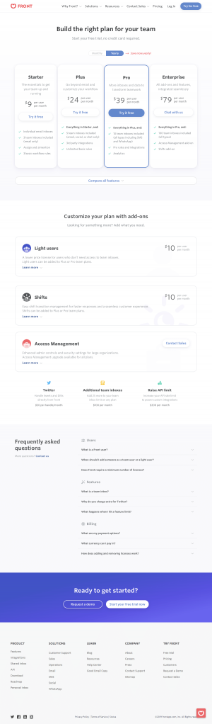 Front - Pricing page
