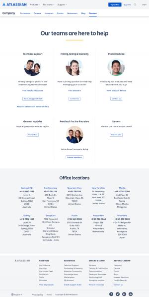 Atlassian - Contact page
