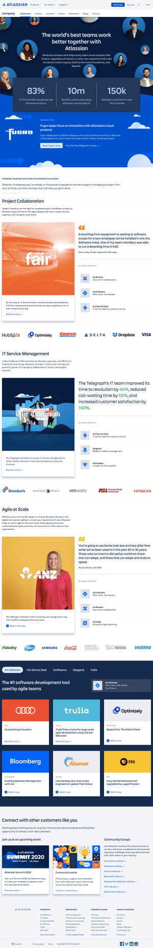 Atlassian - Customers page