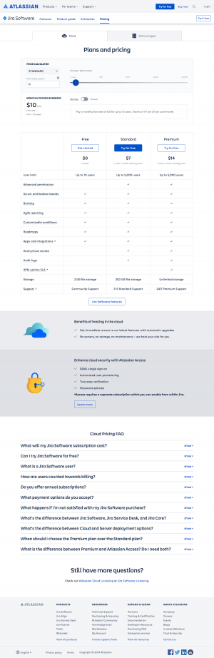 Atlassian - Pricing page 1