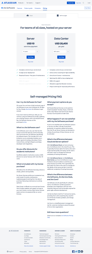 Atlassian - Pricing page 2