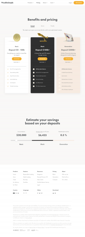Wealthsimple - Pricing page