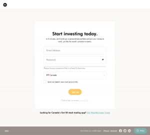 Wealthsimple - Sign up page
