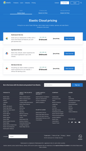 Elastic - Pricing page 1